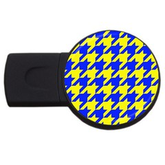 Houndstooth 2 Blue Usb Flash Drive Round (4 Gb)  by MoreColorsinLife