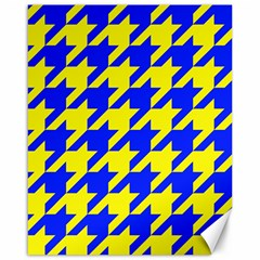 Houndstooth 2 Blue Canvas 16  X 20   by MoreColorsinLife