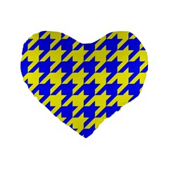Houndstooth 2 Blue Standard 16  Premium Heart Shape Cushions