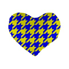 Houndstooth 2 Blue Standard 16  Premium Flano Heart Shape Cushions