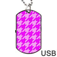 Houndstooth 2 Pink Dog Tag Usb Flash (two Sides)  by MoreColorsinLife