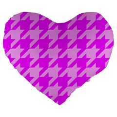 Houndstooth 2 Pink Large 19  Premium Heart Shape Cushions