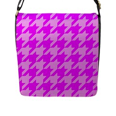 Houndstooth 2 Pink Flap Messenger Bag (l)  by MoreColorsinLife