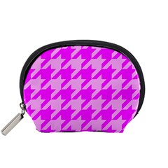 Houndstooth 2 Pink Accessory Pouches (small)  by MoreColorsinLife