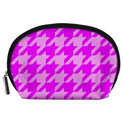 Houndstooth 2 Pink Accessory Pouches (large)  by MoreColorsinLife