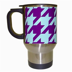 Houndstooth 2 Purple Travel Mugs (white) by MoreColorsinLife
