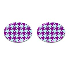 Houndstooth 2 Purple Cufflinks (oval) by MoreColorsinLife