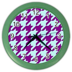 Houndstooth 2 Purple Color Wall Clocks by MoreColorsinLife