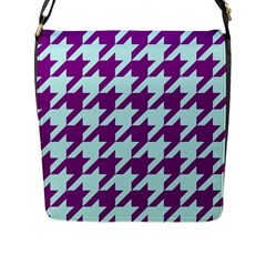 Houndstooth 2 Purple Flap Messenger Bag (l)  by MoreColorsinLife