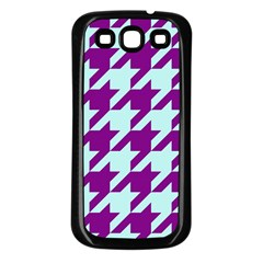 Houndstooth 2 Purple Samsung Galaxy S3 Back Case (black) by MoreColorsinLife