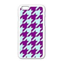 Houndstooth 2 Purple Apple Iphone 6/6s White Enamel Case by MoreColorsinLife