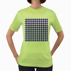 Houndstooth Blue Women s Green T-shirt by MoreColorsinLife