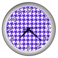 Houndstooth Blue Wall Clocks (silver)  by MoreColorsinLife