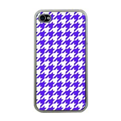 Houndstooth Blue Apple Iphone 4 Case (clear) by MoreColorsinLife