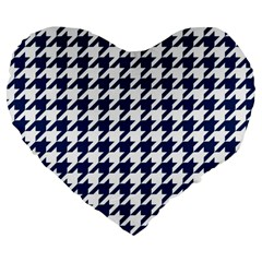 Houndstooth Midnight Large 19  Premium Flano Heart Shape Cushions