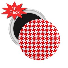 Houndstooth Red 2 25  Magnets (10 Pack)  by MoreColorsinLife