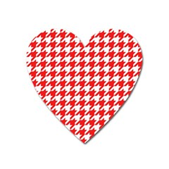 Houndstooth Red Heart Magnet by MoreColorsinLife