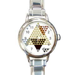 Colorful Modern Geometric Triangles Pattern Round Italian Charm Watches by Dushan