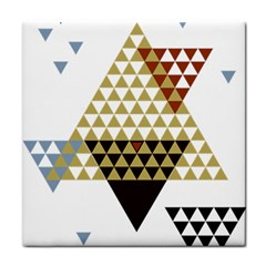 Colorful Modern Geometric Triangles Pattern Tile Coasters by Dushan