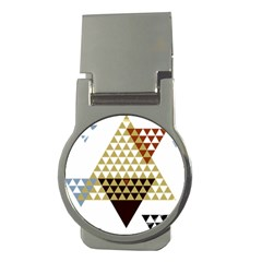 Colorful Modern Geometric Triangles Pattern Money Clips (round)