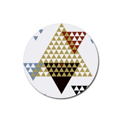 Colorful Modern Geometric Triangles Pattern Rubber Coaster (round)