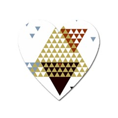 Colorful Modern Geometric Triangles Pattern Heart Magnet by Dushan