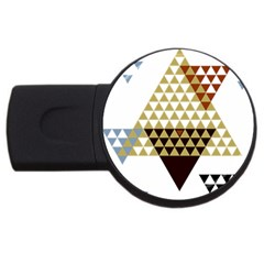Colorful Modern Geometric Triangles Pattern Usb Flash Drive Round (2 Gb)  by Dushan