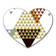 Colorful Modern Geometric Triangles Pattern Heart Mousepads by Dushan