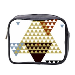 Colorful Modern Geometric Triangles Pattern Mini Toiletries Bag 2 Side by Dushan