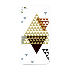 Colorful Modern Geometric Triangles Pattern Apple Iphone 4 Case (white) by Dushan