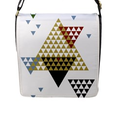 Colorful Modern Geometric Triangles Pattern Flap Messenger Bag (l)  by Dushan