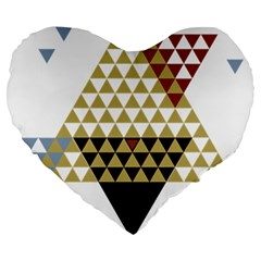 Colorful Modern Geometric Triangles Pattern Large 19  Premium Flano Heart Shape Cushions