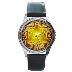 Swirling Dreams Yellow Round Metal Watches by MoreColorsinLife