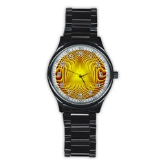 Swirling Dreams Yellow Stainless Steel Round Watches by MoreColorsinLife