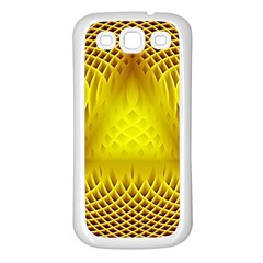 Swirling Dreams Yellow Samsung Galaxy S3 Back Case (white) by MoreColorsinLife