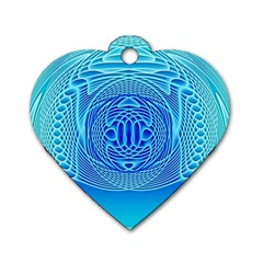 Swirling Dreams, Aqua Dog Tag Heart (two Sides) by MoreColorsinLife