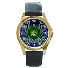 Swirling Dreams, Blue Green Round Gold Metal Watches by MoreColorsinLife