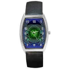 Swirling Dreams, Blue Green Barrel Metal Watches by MoreColorsinLife