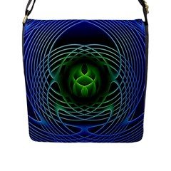 Swirling Dreams, Blue Green Flap Messenger Bag (l)  by MoreColorsinLife