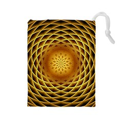 Swirling Dreams, Golden Drawstring Pouches (large)