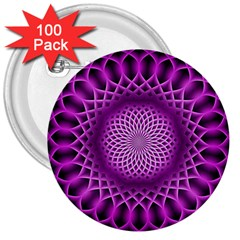 Swirling Dreams, Hot Pink 3  Buttons (100 Pack)