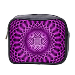 Swirling Dreams, Hot Pink Mini Toiletries Bag 2 Side by MoreColorsinLife