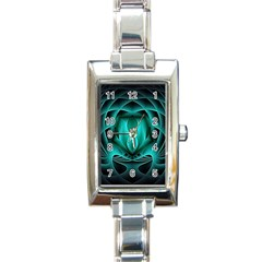 Swirling Dreams, Teal Rectangle Italian Charm Watches by MoreColorsinLife