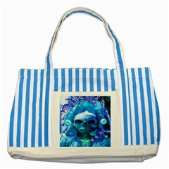 Skull Worship Striped Blue Tote Bag  by icarusismartdesigns