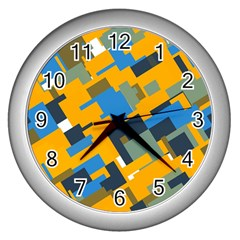Blue Yellow Shapes Wall Clock (silver)