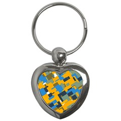 Blue Yellow Shapes Key Chain (heart) by LalyLauraFLM