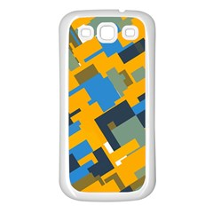Blue Yellow Shapes Samsung Galaxy S3 Back Case (white) by LalyLauraFLM