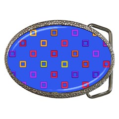 3d Squares On A Blue Background Belt Buckle by LalyLauraFLM