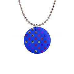 3d Squares On A Blue Background 1  Button Necklace by LalyLauraFLM