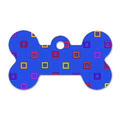 3d Squares On A Blue Background Dog Tag Bone (two Sides) by LalyLauraFLM